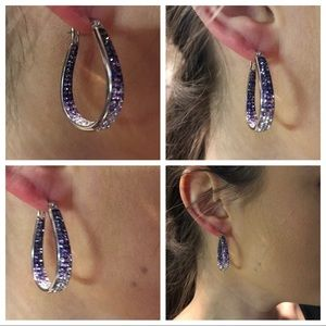 Jewelry - NEW SWAROVSKI CRYSTAL INSIDE OUT PURPLE HOOPS